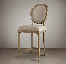 Vintage French Round Upholstered Counter Stool