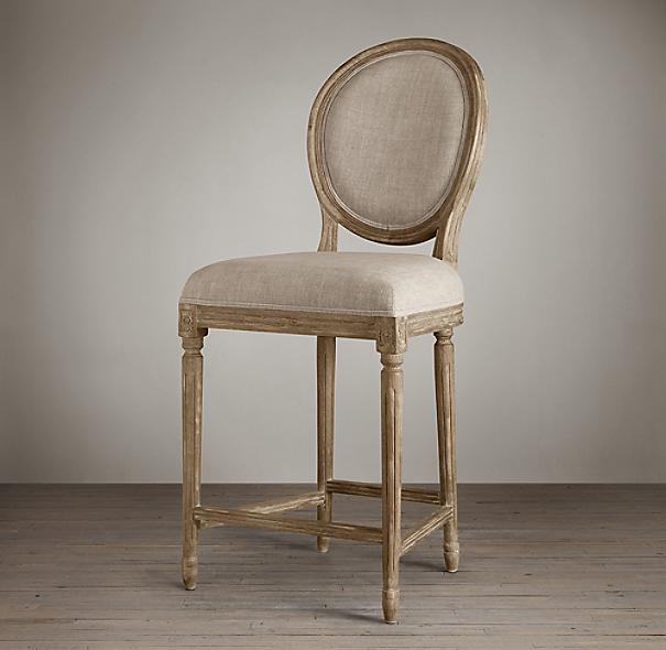 Counter Stools Restoration Hardware: Vintage French Round Upholstered Counter Stool