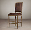 Vintage French Square Leather Counter Stool