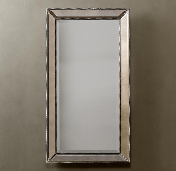 Venetian Beaded Leaner Mirror – Silver