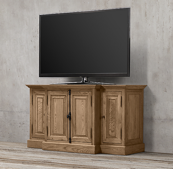 "60"" French Casement Media Console Solid Doors"