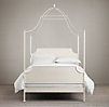 19th C. Campaign Iron Canopy Bed Distressed White