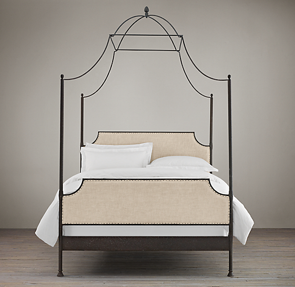 19th C. Campaign Upholstered Iron Canopy Bed