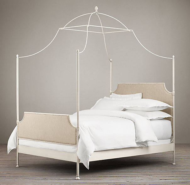 19th C. Campaign Upholstered Iron Canopy Bed Distressed White