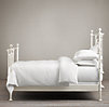 19th C. Quatrefoil Iron Bed Distressed White