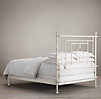 19th C. Quatrefoil Iron Bed without Footboard Distressed White