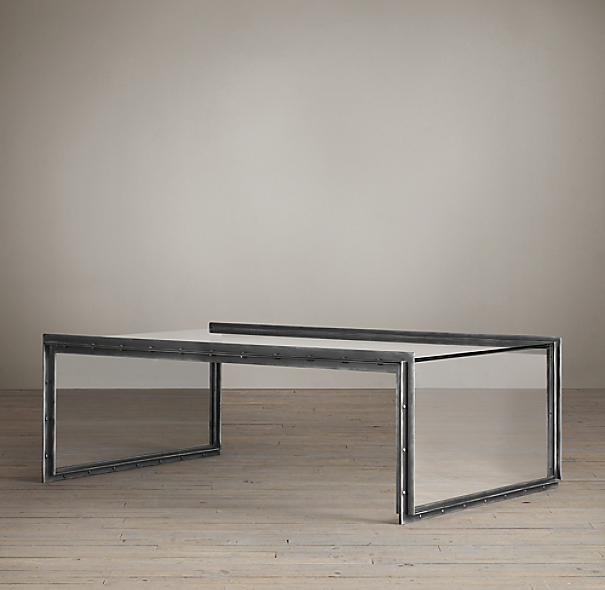 Waterfall Glass & Iron Coffee Table