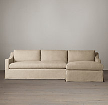 Belgian Classic Slope Arm Slipcovered Right-Arm Sofa Chaise Sectional