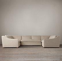 Belgian Classic Slope Arm Upholstered U-Sofa Sectional