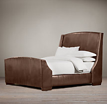 "Warner Nailhead Leather 68"" Bed with Footboard"