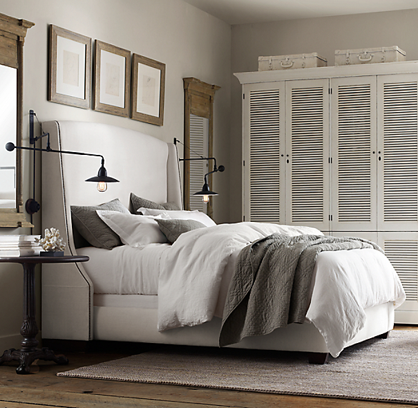 Restoration Hardware Headboards: Warner Fabric Bed Without Footboard With Nailheads