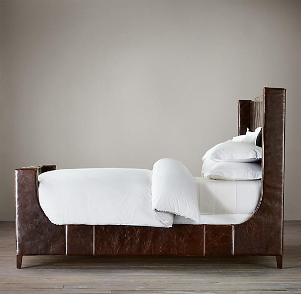 Grayson Leather Sleigh Bed