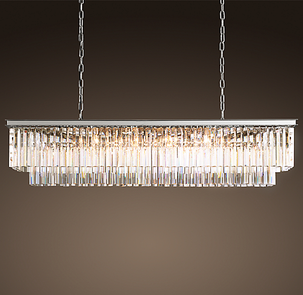 1920s odeon clear glass fringe rectangular chandelier 59