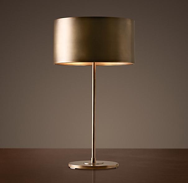 Antiqued Metal Drum Table Lamp Vintage Brass