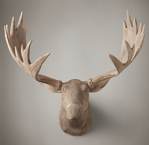 Hand Carved Wood Moose Trophy Head