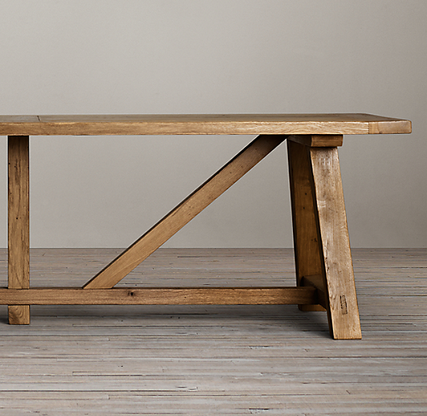 Reclaimed Russian Oak Trestle Dining Tables