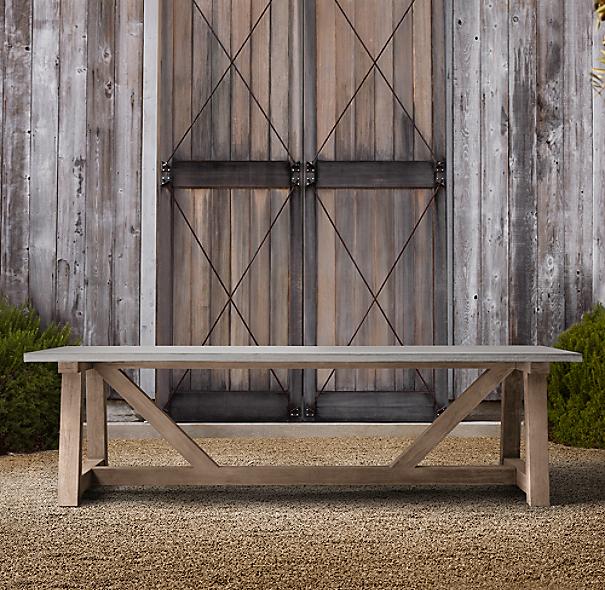 French Beam Weathered Concrete Amp Teak Rectangular Dining Table