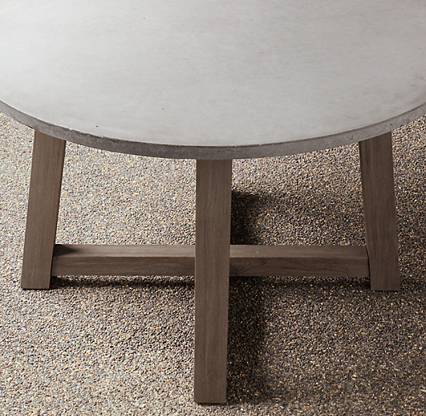 Rh French Beam Coffee Table: French Beam Weathered Concrete & Teak Round Dining Table