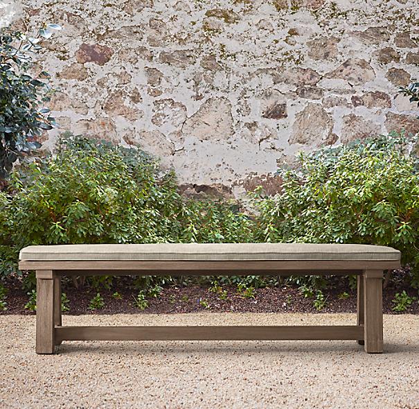 French Beam Weathered Teak Dining Bench Cushion