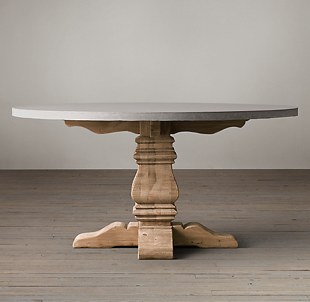 Salvaged Wood Weathered Concrete Trestle Round Dining Table
