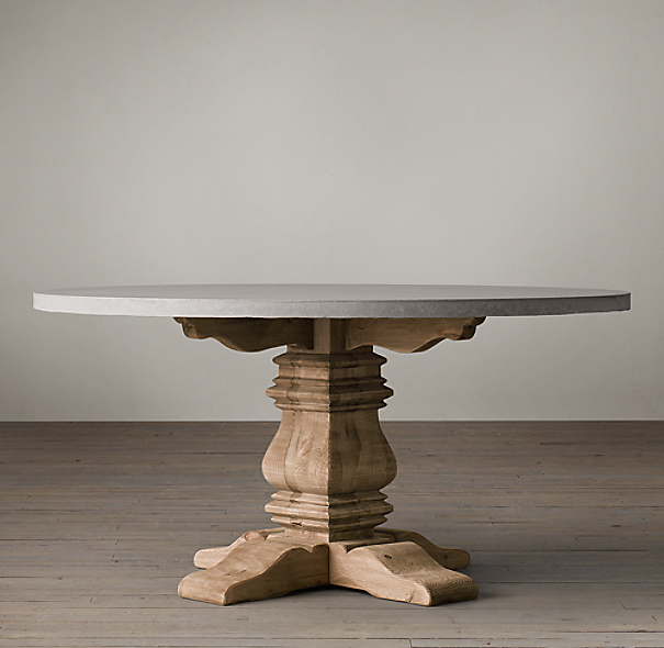 Salvaged Wood Amp Weathered Concrete Trestle Round Dining Table