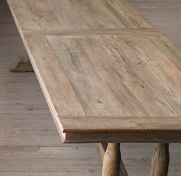 Farmhouse Style Table Makeover: Using gray tones, this amazing makeover is a Restoration Hardware Knockoff. Click the pic for more details!