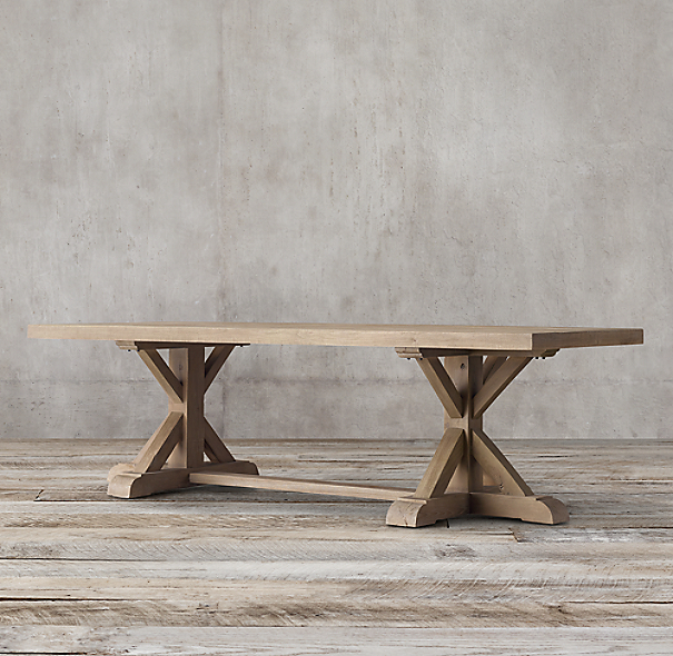 Distressed Elm Belgian Trestle Rectangular Dining Table