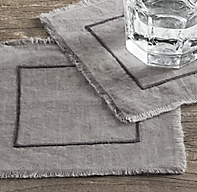 Frayed Edge Belgian Linen Cocktail Napkins (Set of 4)