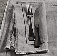 Frayed Edge Belgian Linen Dinner Napkins (Set of 4)