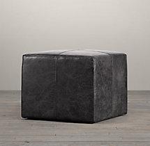 Cooper Leather Square Ottoman