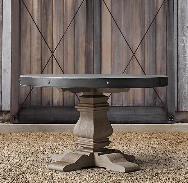 English Trestle Concrete Amp Teak Round Dining Table