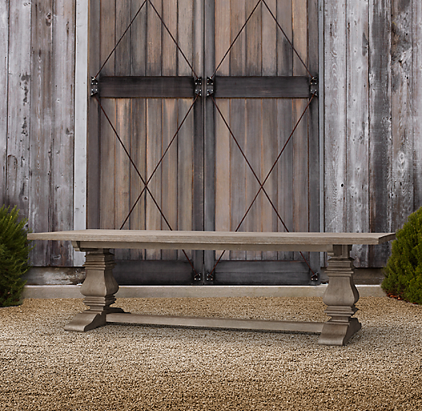 English Trestle Weathered Teak Rectangular Dining Table