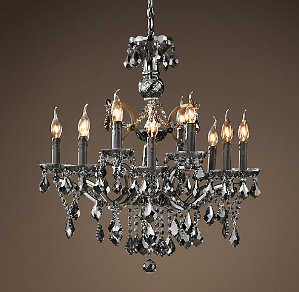 19th C Rococo Iron Smoke Crystal Round Chandelier 26
