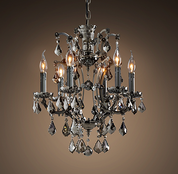 19th C Rococo Iron Smoke Crystal Round Chandelier 18