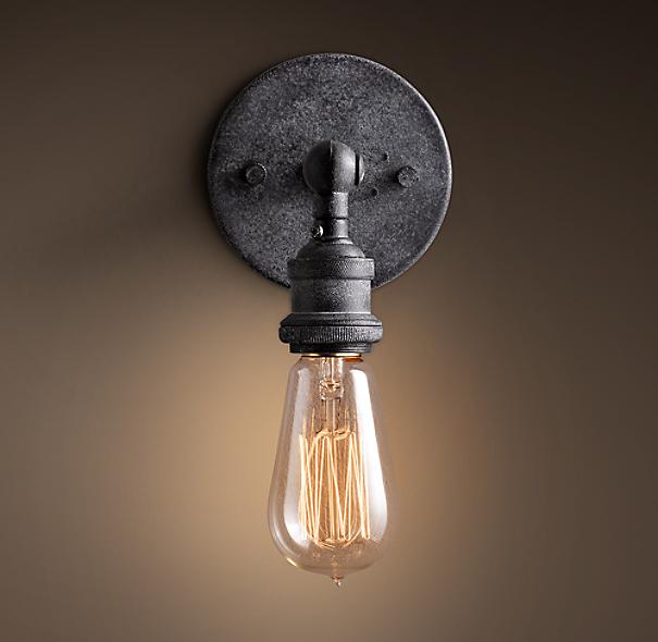 20th C Factory Filament Bare Bulb Sconce