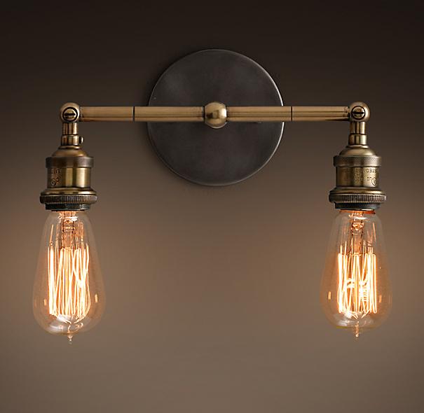 Restoration Hardware Festoon Lighting: 20th C. Factory Filament Bare Bulb Double Sconce