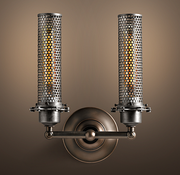 Edison Perforated Metal Double Sconce