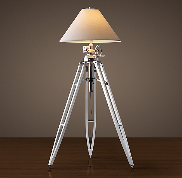 Royal marine tripod floor lamp polished aluminum for Royal marine tripod floor lamp antique brass