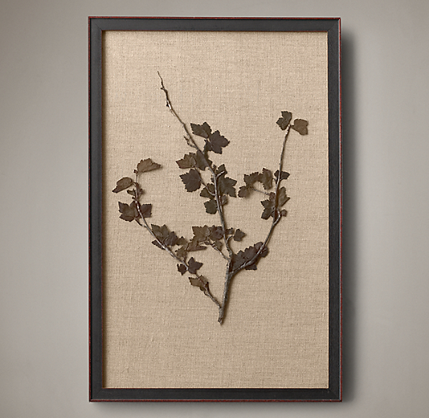 Hand Pressed Botanicals On Linen Ivory