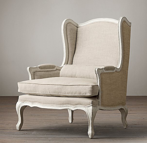 Lorraine Chair White with Burlap