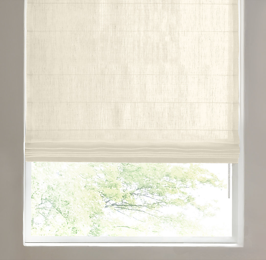 Belgian sheer linen tailored roman shade for Restoration hardware window shades