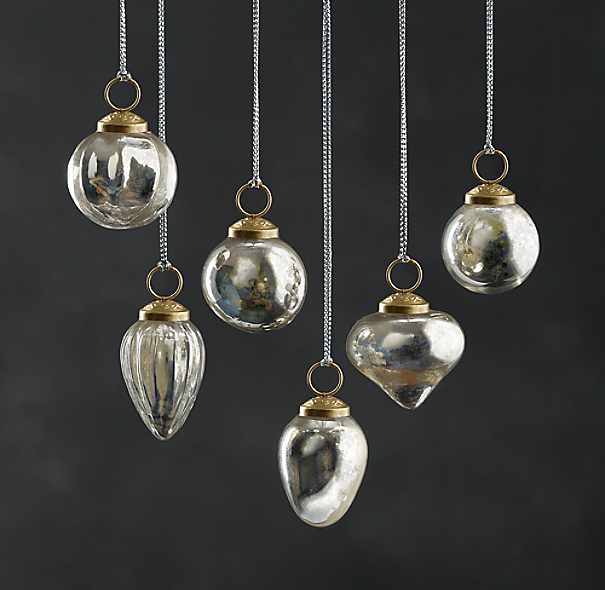 Mini Vintage Hand-Blown Glass Ornament (Set of 6) - Silver