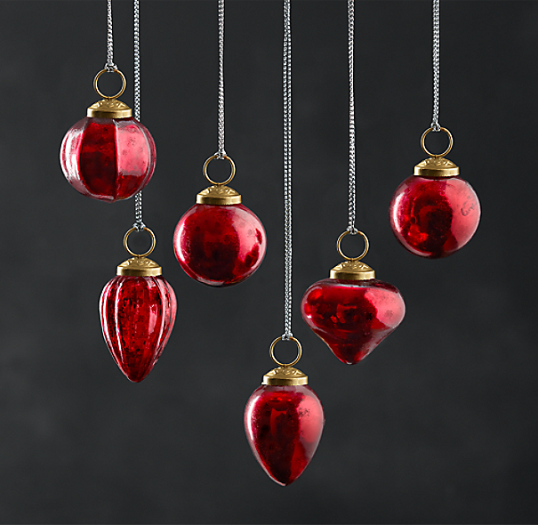 Mini Vintage Hand-Blown Glass Ornament (Set of 6) - Red