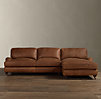 English Roll Arm Leather Right-Arm Sofa Chaise Sectional
