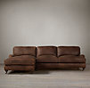 English Roll Arm Leather Left-Arm Sofa Chaise Sectional