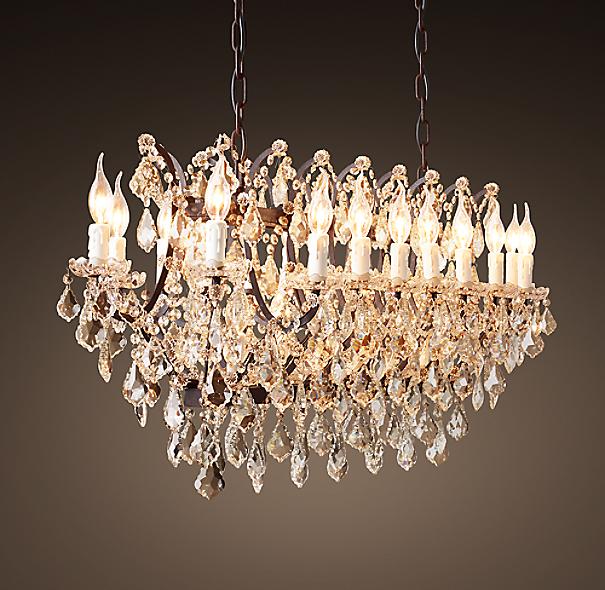 "Rococo Chandelier Rh: 19th C. Rococo Iron & Clear Crystal Rectangular Chandelier 52"""