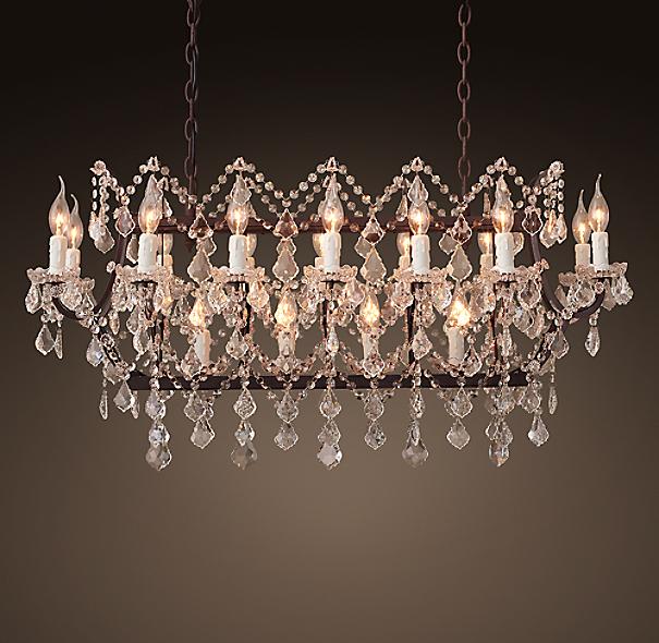 "Rococo Rectangular Chandelier: 19th C. Rococo Iron & Clear Crystal Rectangular Chandelier 40"""