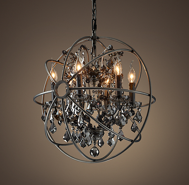 iron orb crystal chandelier