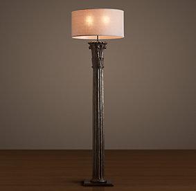 cast corinthian column floor lamp iron. Black Bedroom Furniture Sets. Home Design Ideas
