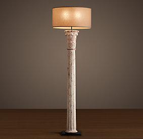 hand carved corinthian column floor lamp weathered white. Black Bedroom Furniture Sets. Home Design Ideas